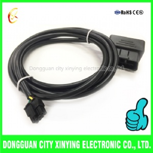 custom molded obd2 to 3.0mm 8 pin molex connector extension cable